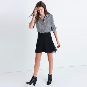 Madewell Black Silk 'Lowlight' Lace-Inset Skirt